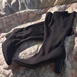 Black Wide Calf Neoprene Scuba Knee High Boots 10M